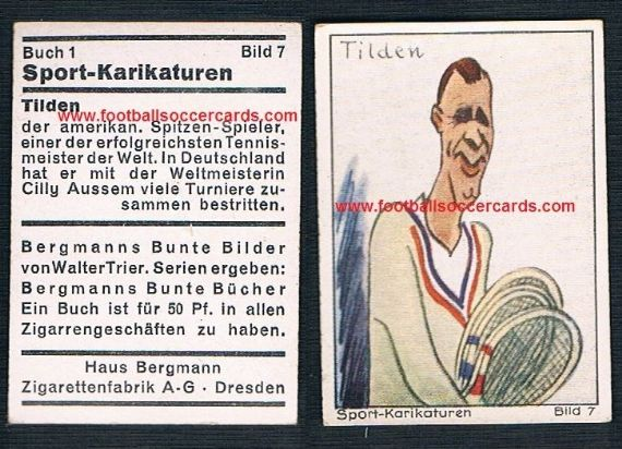 1930s Haus Bergmann William Bill Tilden Bunte Bucker Sport Karikaturen tennis legend